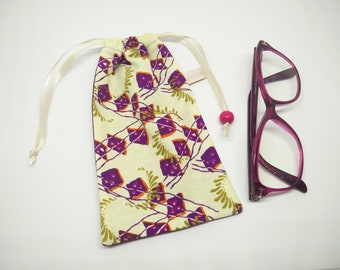 case sunglasses fabric smartphone pouch African violet cream wax
