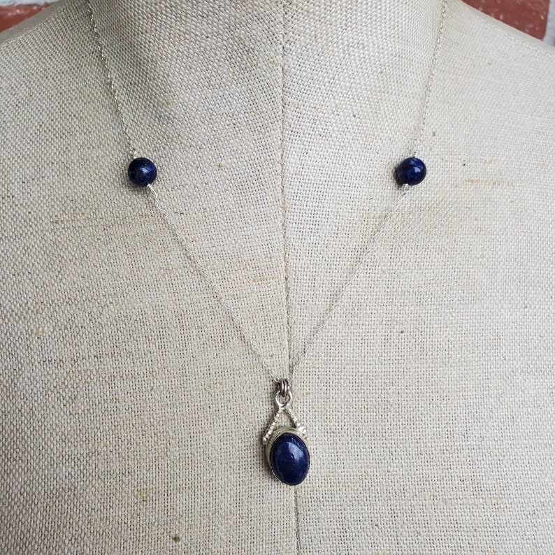 December birthstone Deeper Meaning Genuine lapis and Sterling Silver necklace