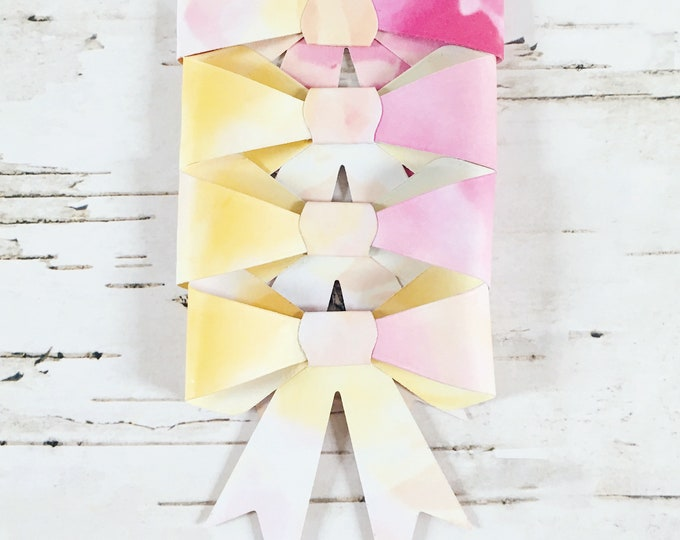 Bows, gift bows, floral gift bows, paper bows, floral paper bows, gift topper, gift wrap, floral gift wrap, four pack, pack of bows