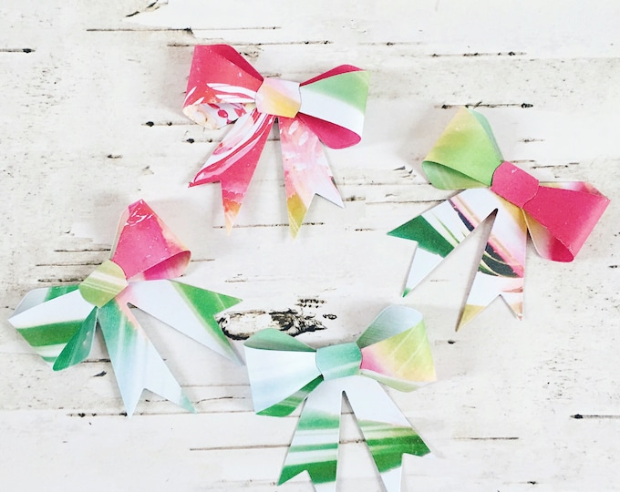 Gift bows, bows, gift toppers, gift wrap, paper bows, paper gift bows, floral gift bows, floral bows, four pack, pack of bows, box of bows