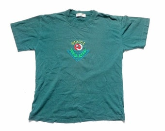 bb8c161e1 Vintage 1980s Gucci logo t shirt - embroidered - sz Medium - single stitch