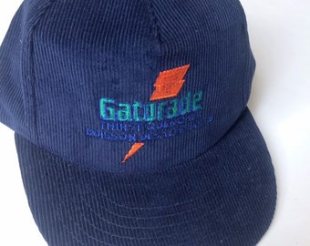 new styles 26022 a0f19 Vintage 90s Gatorade snapback hat - navy blue corduroy - thirst quencher