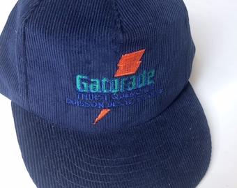 new styles 37e25 89f72 Vintage 90s Gatorade snapback hat - navy blue corduroy - thirst quencher