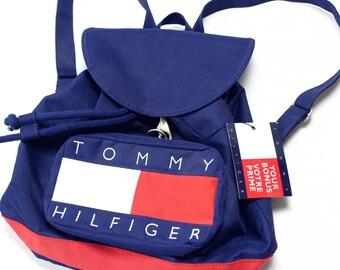 d2564c302c3 Vintage Tommy Hilfiger big flag backpack drawstring buckle nos Deadstock  vtg 90s