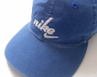 ecee2176dc5041 Vintage 90s Nike swoosh canvas 6 panel hat - blue strap back sad hat