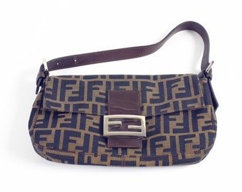 4a6f13eafc30 Fendi Zucca monogram baguette handbag shoulder bag small authentic mama  forever canvas
