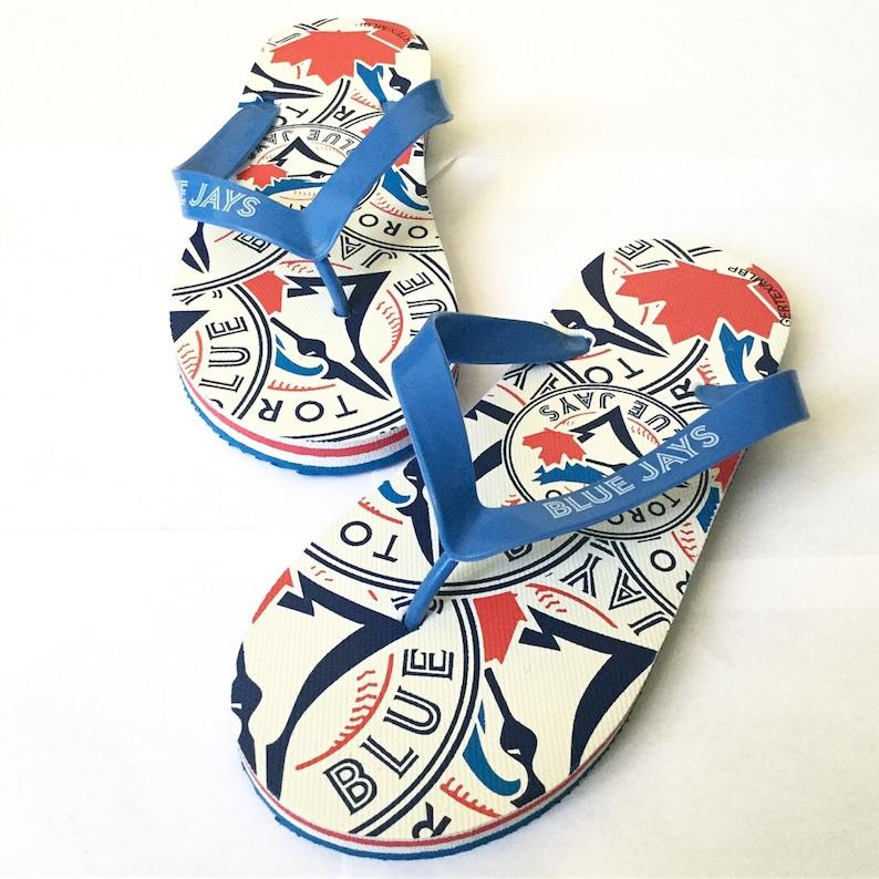 Vintage Toronto Blue Jays flip flop thong sandals 90s vtg sz 6-7