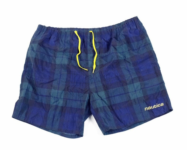 34ed291d27517 Vintage Nautica shorts swim trunks vtg 90s xl plaid spellout | Etsy
