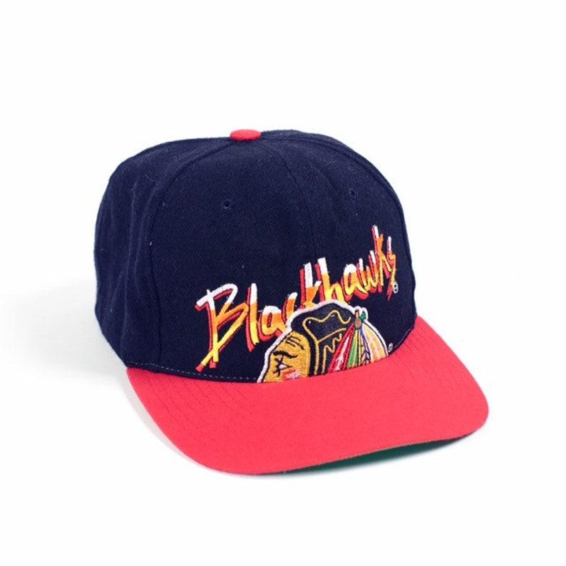 ddf5af9ef76e84 Vintage 90s Chicago Blackhawks CCM nhl snapback hat vtg rare | Etsy