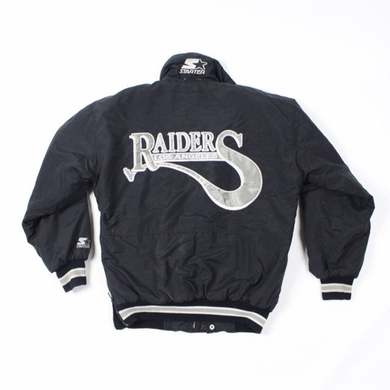 check out c4f84 08f28 Vintage Los Angeles Raiders Starter Jacket late 80s vtg fits medium script  spellout rare nfl football eazy e nwa ice cube