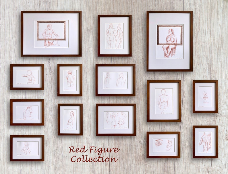 Hand \u2013 figure drawing framed art life drawing red sketch anatomy sketch