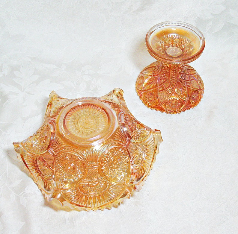 Imperial Carnival Glass Bowl and Stand Twins Pattern