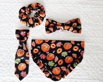 FALL PUMPKINS and DONUTS, Pumpkin Dog Bandana, Fall Pumpkin Dog Tie, Fall Dog Bowtie, Pumpkin Pet Bandana, Pumpkin Dog Toy, Fall Scrunchie