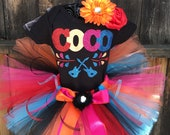 Ready to Ship COCO Inspired disney TUTU Set Day of the Dead Sizes Newborn, 3 m, 6 m 9 m 12m 18 m 24 m 2T 3T 4T 5 6 7 8