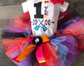 Personalize ustim Disney inspired Birthday COCO Tutu Set Day of the Dead includes Shirt, Fluffy Colorful Tutu and Flower Hair Clip Ready t