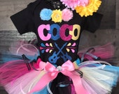 Disney inspired Birthday COCO Tutu Set Day of the Dead includes Shirt, Fluffy Colorful Tutu and Flower Hair Clip Ready to Ship
