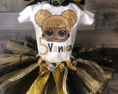 Inspired Lol Birthday Tutu includes Shirt, Fluffy Sassy Queen Bee, Gold and Black Tutu and 2 Black Hair Bow Clips Ready to Ship