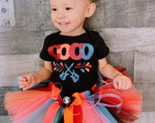 Disney inspired Birthday COCO Dress Tutu Set disney Day of the Dead shirt ready to Ship