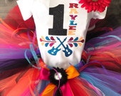 Personalize custom Disney inspired Birthday COCO Tutu Set Day of the Dead includes Shirt, Fluffy Colorful Tutu and Flower Hair Clip Ready