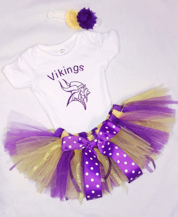 Sports Inspired Girls Minnesota Vikings Outfit Tutu Dress Set Team Any Team Available Upon Request