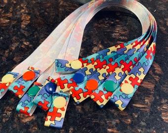 "Autism Awareness Edition: Face Mask Holder- Strap & Snap, 5/8"" Satin Ribbon"