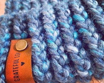 Adult Loom Knit Hat with Faux Fur Pom Pom