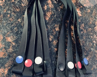 """Face Mask Holder- Strap & Snap- 5/8"""" Black Grosgrain Ribbon with Plastic Snaps- One Size Fits All"""
