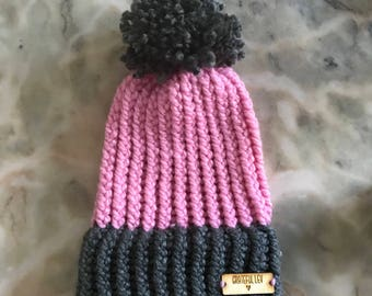 Infant Loom Knit Winter Hat with Pom Pom- 0 to 6 Months. Loops & Threads Charisma Yarn. Gray/Think Pink. With Wooden Logo Tag.