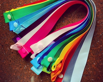 """Solids Edition: Face Mask Holder- Strap & Snap- 7/8"""" Grosgrain Ribbon- Multiple Color Options- One Size Fits All"""