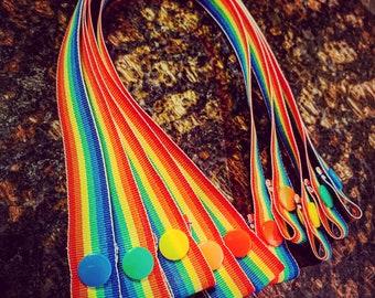 "Rainbow Edition: Face Mask Holder- Strap & Snap, 5/8"" Grosgrain Ribbon"