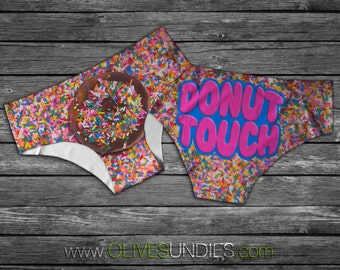 Donut Touch Sprinkle Panties / Cute Food Underwear / Kawaii Food Knickers / Valentines Day Donut and Sprinkles
