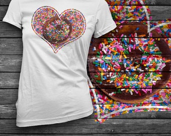 Donut Touch Sprinkle Heart T-Shirt / Cute Food Clothing / Kawaii Food Shirts / Valentines Day Donut and Sprinkles