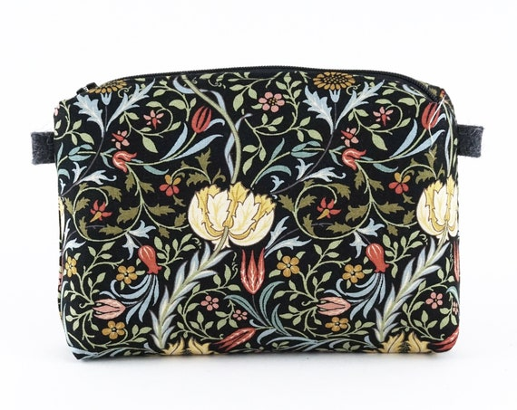 Cotton toilet little bag, handmade, William Morris fabric