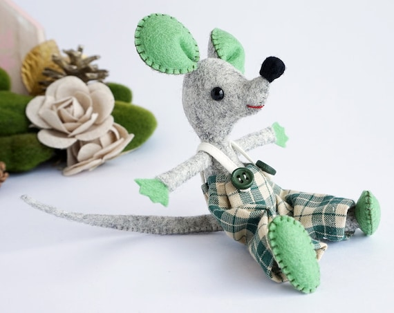 Mouse Felt, a handmade wool felt toy, gift for him