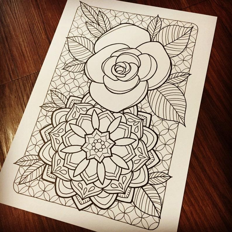 Rose Mandala Printable Coloring Page | Etsy