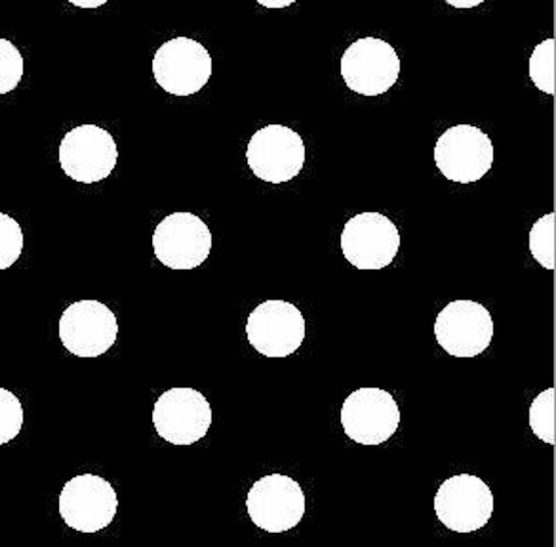 4a79abe8732 DOUBLE BRUSHED POLY Black with White Polka Dots Brushed | Etsy