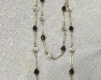 Swarovski Crystal and Silver necklace - garnet and clear beads.