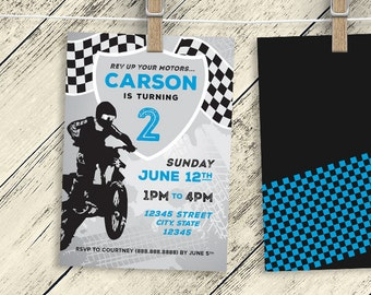 Motocross  Invitation Birthday Party 5X7 (DIGITAL FILE) - Boy/Girl Dirtbike B-Day Invite - any age