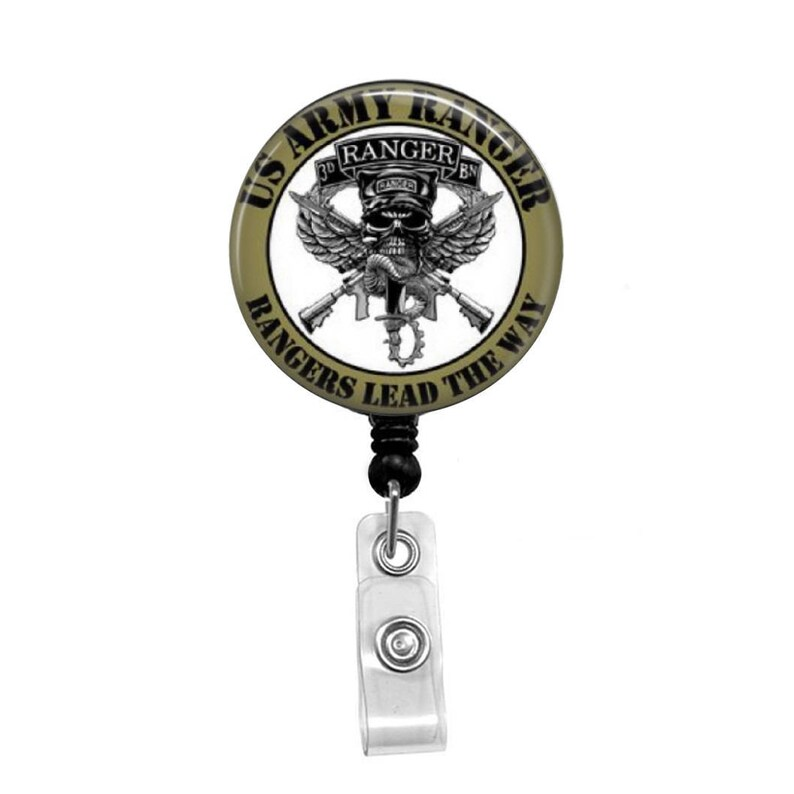 Army Ranger, USA - Retractable Badge Holder - Badge Reel - Lanyards -  Stethoscope Tag