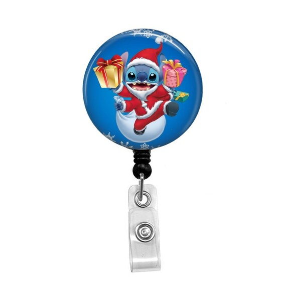 Disney Stitch Christmas Retractable ID Badge Reel Holder