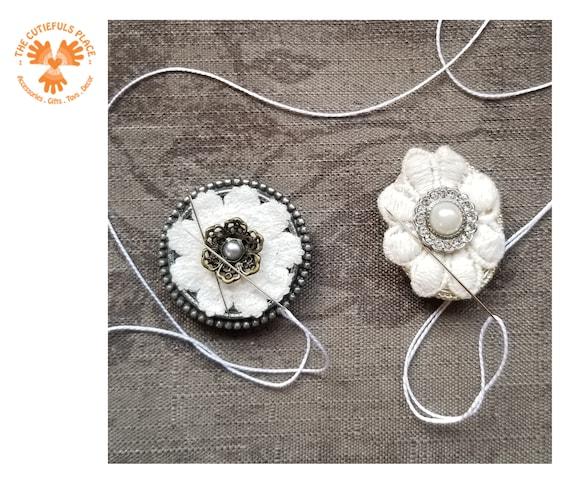 Black /& White Gem Flower Needleminder for Cross Stitch Embroidery