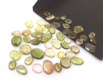 5 Pcs Yellow-Green Tourmaline Lot,Green Tourmaline,Tourmaline Slice,Tourmaline Loose Stone,Rose Cut Gemstones,Rose Cut Tourmaline,5-8 mm