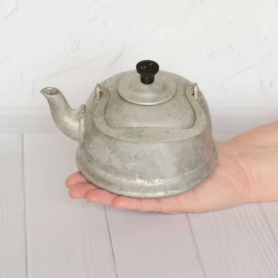 Antique toy kettle Old kids kitchen toy Small rare aluminium teapot  Retro child tea kettle Soviet metal toy Vintage decorative kitchenware