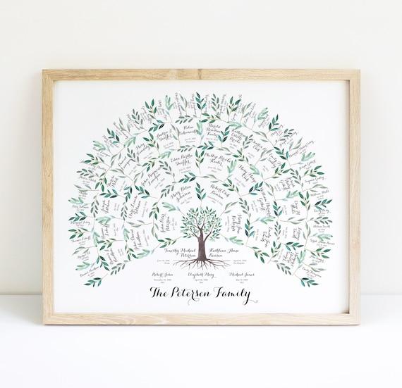 genealogy family tree chart 5 generations family tree art etsy