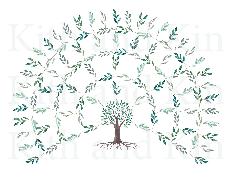 Genealogy Fan Chart Template 5 Generations Blank Etsy