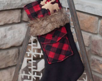 christmas stockingsbuffalo plaid christmas stockings woodland farmhouse christmas bearmoosedeer christmas stockingsrustic christmas