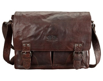 Pocket postbag capes L pretty fly Messenger bag vintage retro style brown leather