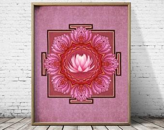 Yoga Art Lotus Print Lotus Flower Mandala Art Print Yoga print Lotus Art Sacred Geometry Art Mandala Print Flower of Life Print
