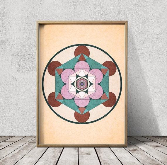 La Geometrie Sacree Impression Mandala Imprimer Mandala Wall Etsy