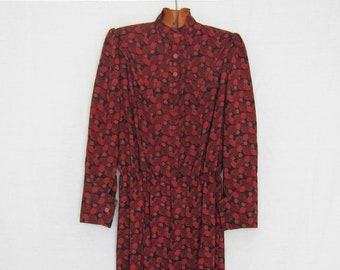 Ted Lapidus Paris Diffusion 70s long flowers Liberty Floral 90% wool Made In France 1970's Retro Vintage dress / / Burgundy Rose Burgundy